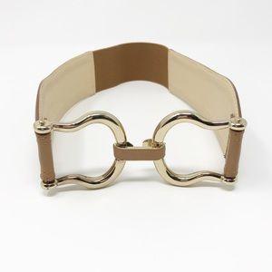 Reiss Tan Waist Belt Gold Tone Clasp Size XS
